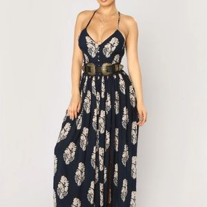 Fashion navy and taupe maxi dress